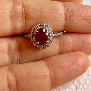 New white GF silver Red oval ring jewelry Sz 10.75